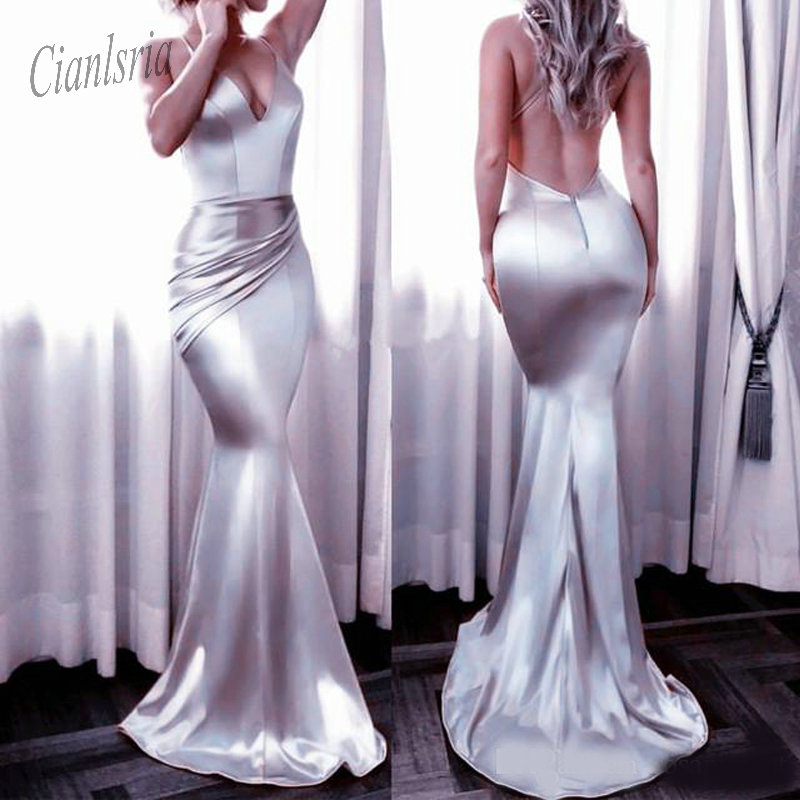 Satin Gowns Backless Mermaid   Dress   Sexy Mermaid   Prom     Dress   Long Evening Gowns 2019 New Arrvial