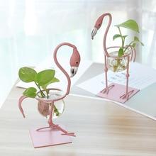 Creative Hydroponic Plant Transparent Vase Flamingo Metal Frame Coffee Shop Room Home Office Desktop Decor Gift Bonsai