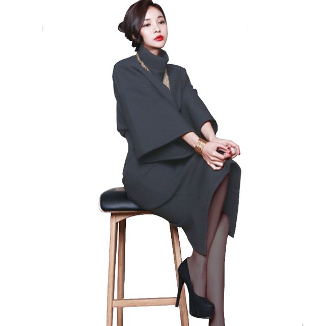 Korean 2 Piece Set Women Turtleneck Long Batwing Sleeve Crop Top And Skirt Set Shirt + Split Wrap Hip Pencil Skirt Conjuntos
