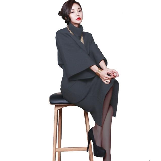 738ca4f1415ea Korean 2 Piece Set Women Turtleneck Long Batwing Sleeve Crop Top And Skirt  Set Shirt +