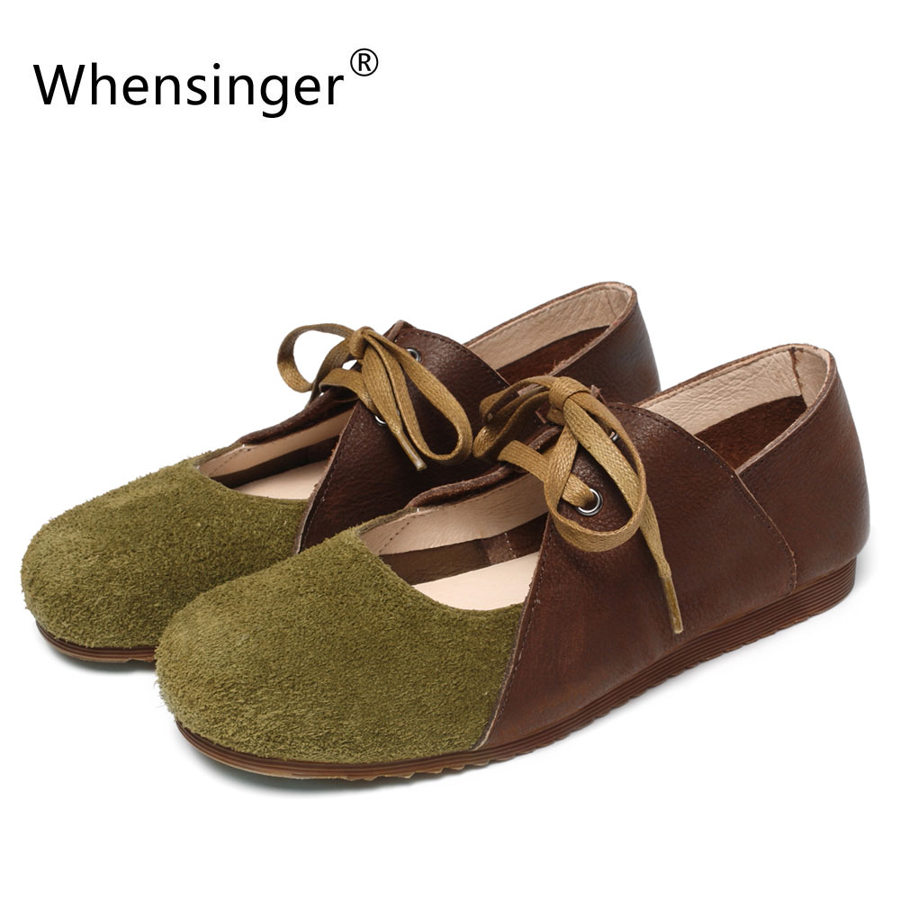 Whensinger - 2018 New Women Leather Shoes Lace-Up Flats Round Toe Spring Autumn Style C557 odetina 2017 new designer lace up ballerina flats fashion women spring pointed toe shoes ladies cross straps soft flats non slip