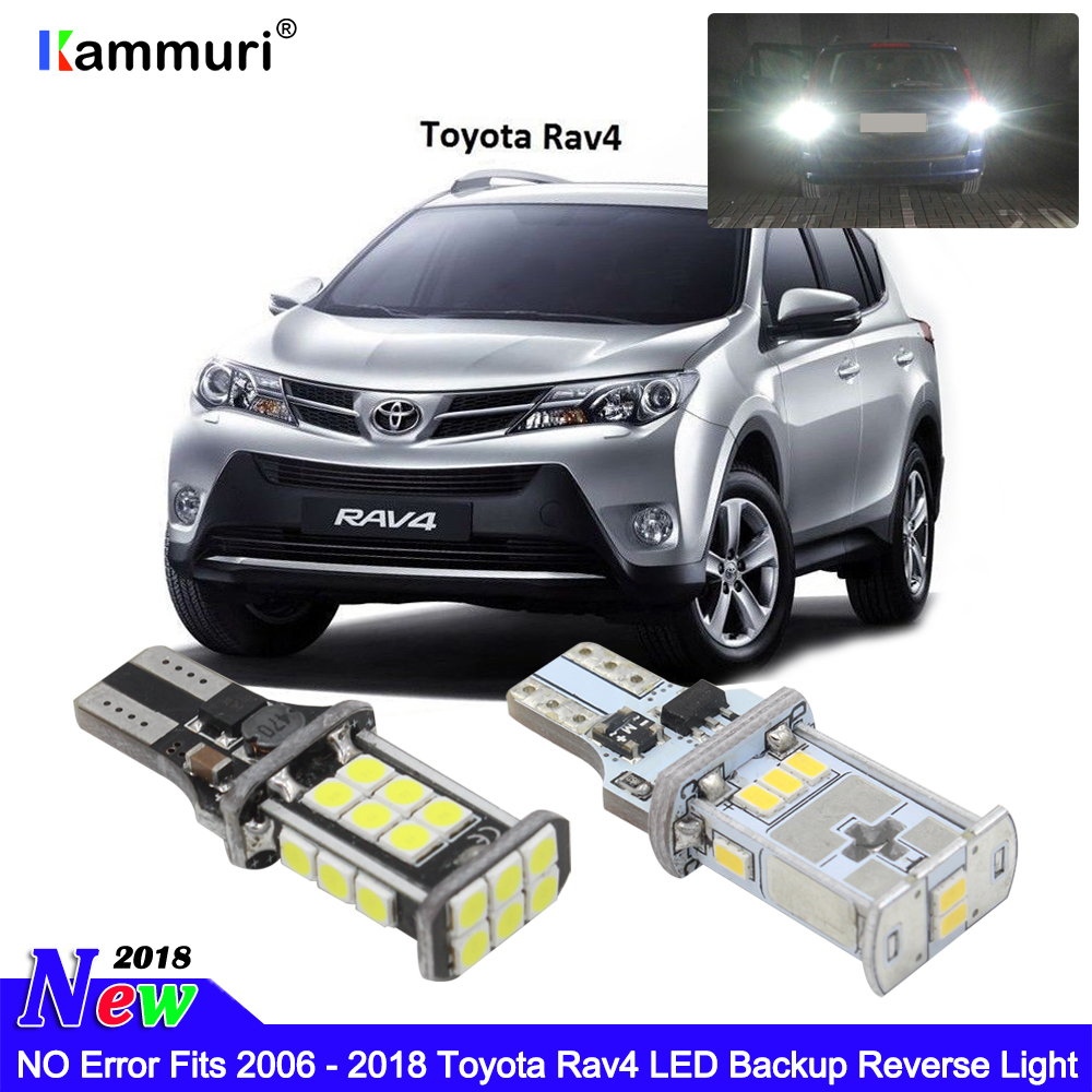 KAMMURI Error Free W16W T15 LED Bulbs Fits 2006 2007 - 2018 Toyota Rav4 Bright White Xenon T15 LED Globe Backup Reverse Light