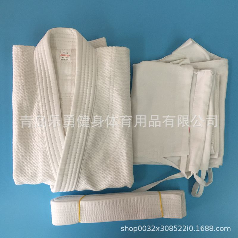 Image 4 - Pure cotton portions 450 g white blue standard training game  fighting coat pants belt portions jiujitsu judoOther Fitness