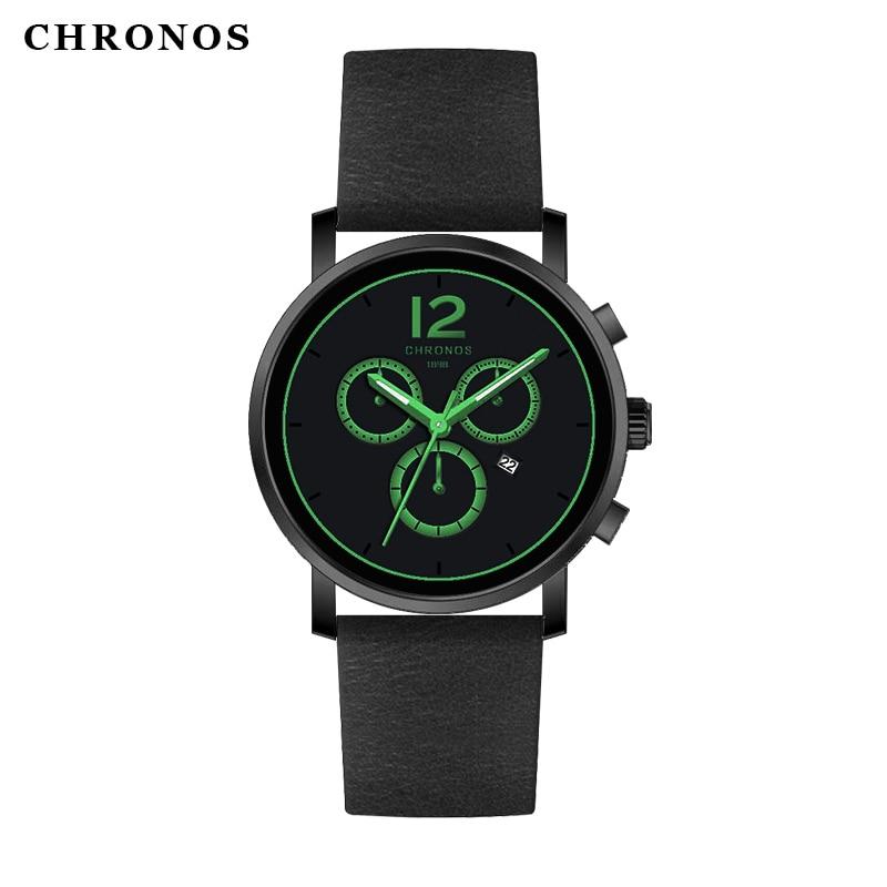 CHRONOS Top Brand Luxury Men's Watch Fashion Casual Military Quartz Leather Wrist Watch For Men Watch Male Clock