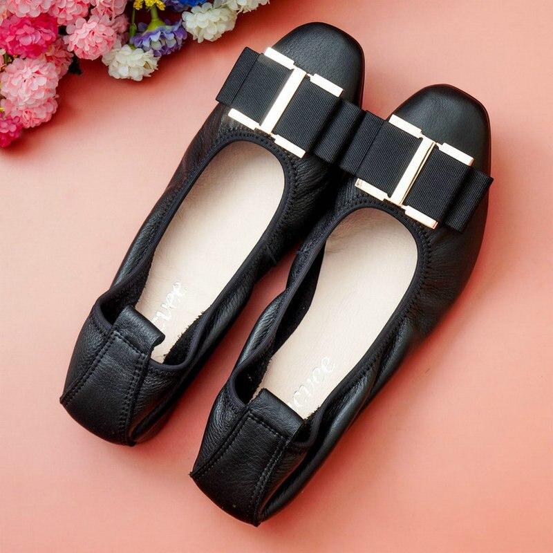 ขายส่งแฟชั่นผู้หญิงแบนบัลเล่ต์รองเท้ารองเท้าสแควร์หัว bowknot รองเท้า Elegant สบาย Lady ไข่ม้วนรองเท้า 2019 ใหม่-ใน รองเท้าส้นเตี้ยสตรี จาก รองเท้า บน AliExpress - 11.11_สิบเอ็ด สิบเอ็ดวันคนโสด 1