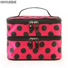 HHYUKIMI Brand Fashion Wave Point Double Layer Travel Cosmetic Bag Large Capacity Beautician Women Makeup Bag