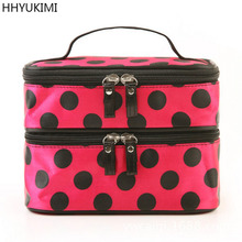 HHYUKIMI Brand Fashion Wave Point Double Layer Travel Cosmetic Bag Large Capacity Beautician Women Makeup Bag Wash Organizer
