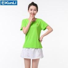 Новый Бренд kunli спортивный костюм женская рубашка для бадминтона