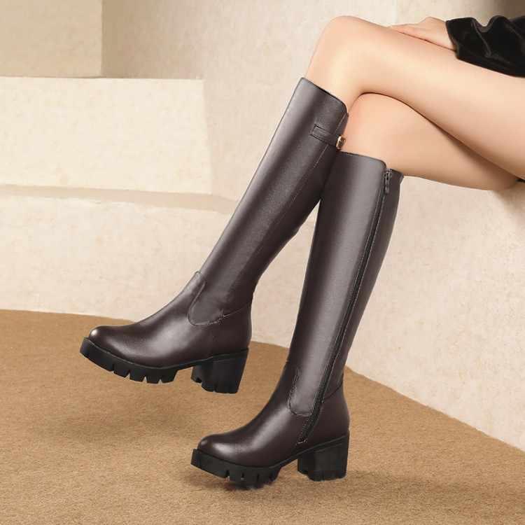 Große Größe 11 12 13 14 15 Einfache seite zipper reiter boot mit mittleren ferse dame hohe stiefel mit dicke platz heels