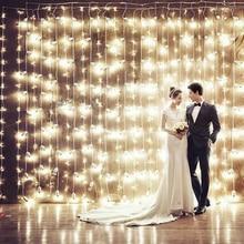 UE EE.UU. Plug 3 m * 3 m 300 LEDs luces carril intermitente LED Cadena de cortina de luz de jardín de casa de Navidad luces del festival