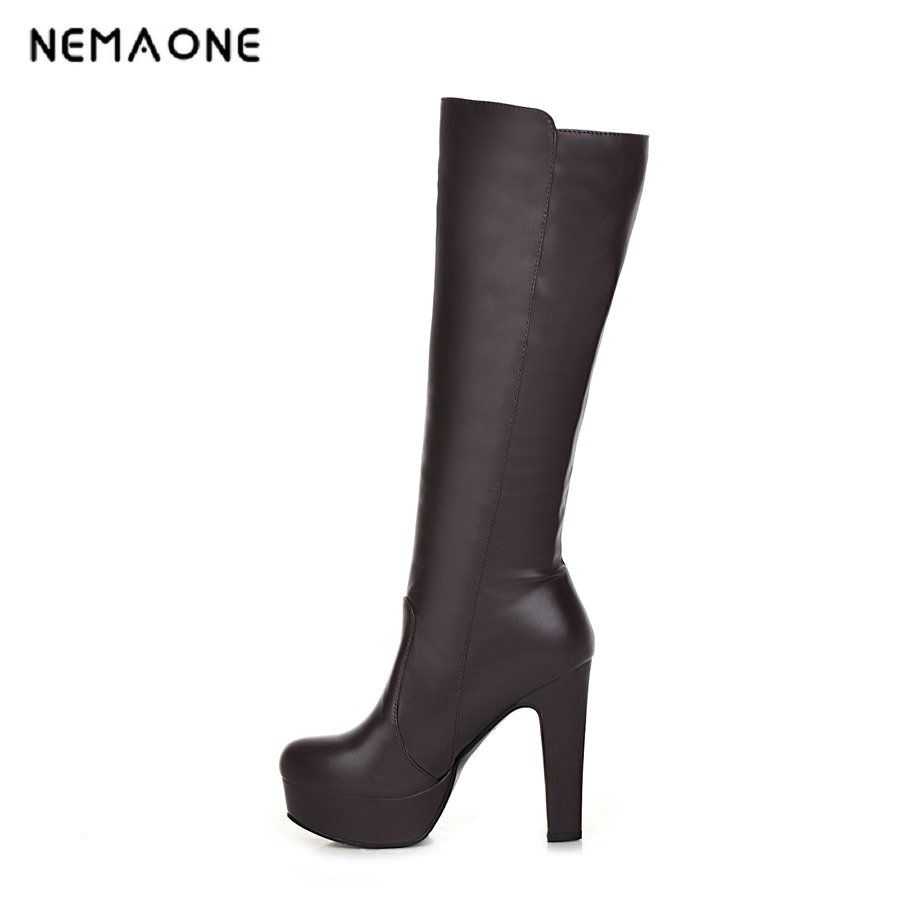 NEMAONE winter new lambs wool inside Knight boots women high-heeled knee boots, knee high boots free shipping big size