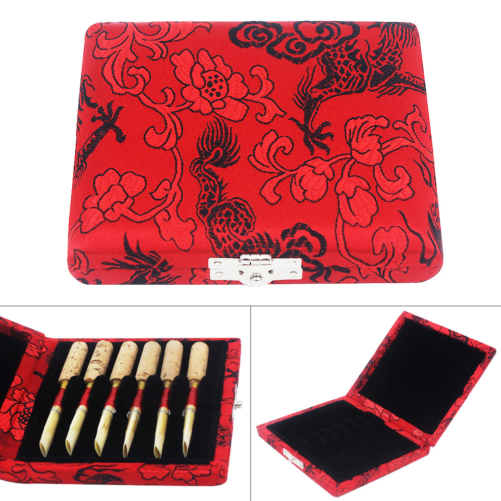 Red Oboe Reeds Storage Box Wood Case Holder With Exquisite Dragon Embroidery For 6 Reeds
