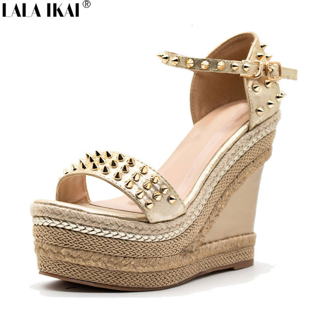 89c755904ec6d LALA IKAI Women Sandals Summer Wedge Sandals Gladiator Buckle Strap  Platform Sandals Sexy Rivet Wedges Ladies