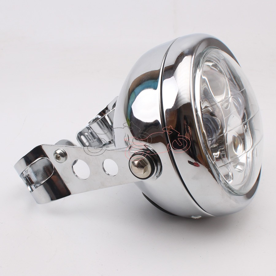 Chrome Vintage Motorcycle Metal Retro LED 6.3