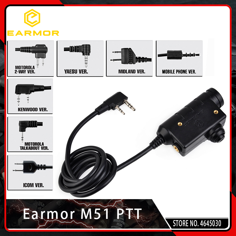 opsmen earmor m51 ptt kenwood plugue telefone 3 5 mm aux fone de ouvido tatico acessorio