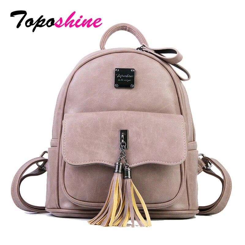 Toposhine 2018 Summer Fashion Solid Women Backpack Tassel Te