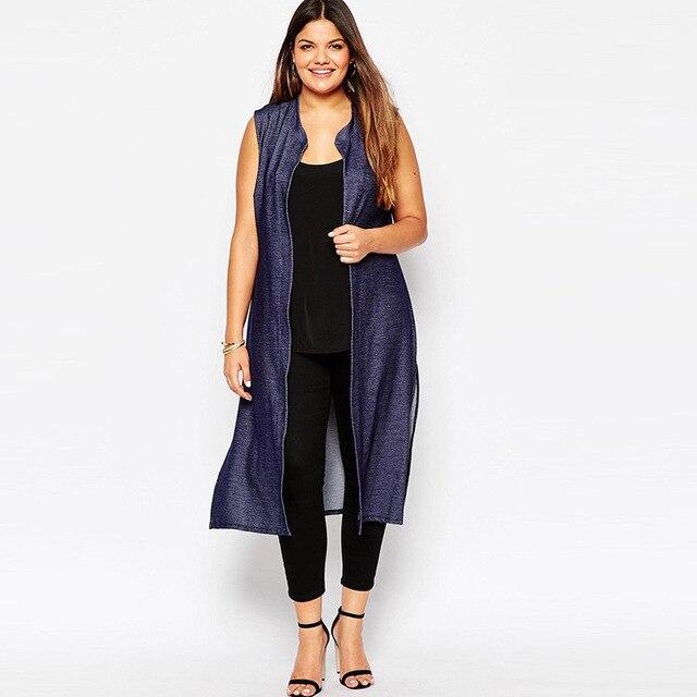 Плюс Размер Макси Жилет Женщин 5XL Solid Рукавов Сторона Сплит Vintage Denim Blue Женщины Пальто 6XL Краткое Моды Долго Жилет Горячей Продажи