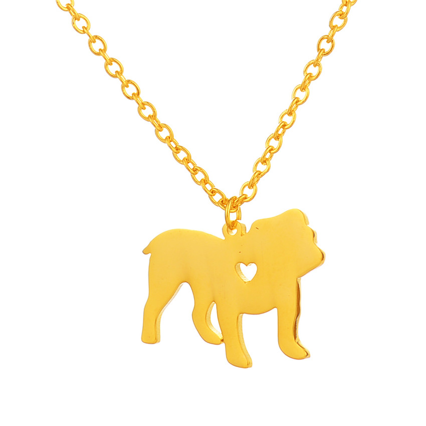 Gold Puppy Dog With Heart Pendant Necklaces Lover Memorial Pet Charm Stainless Steel Child Women Necklace Collares Mujer BFF