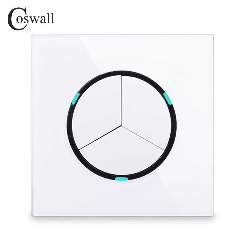 Coswall 2018 New Arrival Crystal Glass Panel 3 Gang 1 Way Random Click On / Off Wall Light Switch With LED Indicator