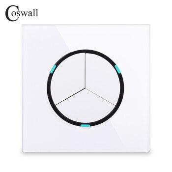 Coswall 2018 Новое поступление кристальная стеклянная панель 3 комплекта 1 способ случайный щелчок вкл/выкл настенный светильник с светодиодный ...