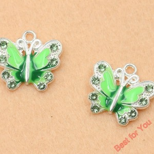Image 4 - Mixed Silver Plated Enamel Crystal Butterfly Charms Pendants For Jewelry Making Diy Handmade 50pcs