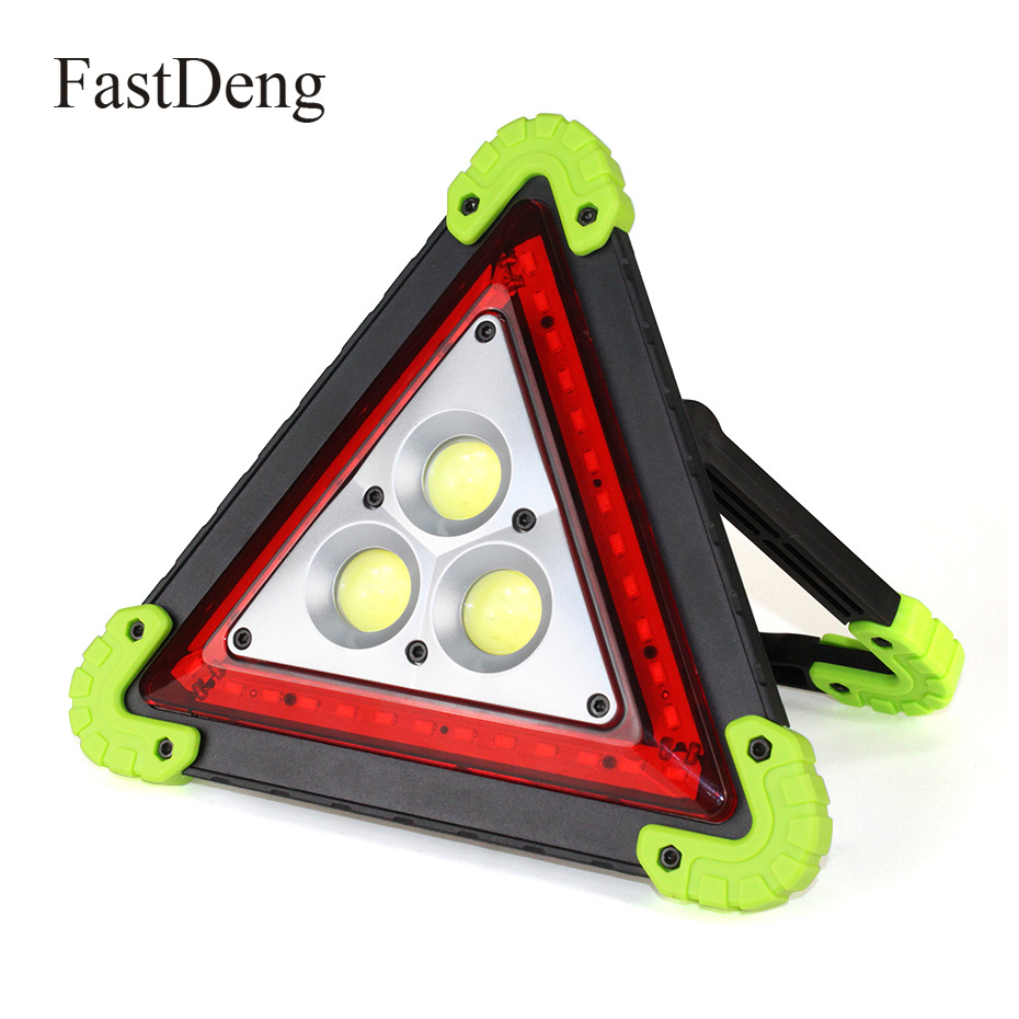 Portable Flood Lamp Cob Work Light Triangle Warning Light Sos Searchlight Emergency Warning Traffic Light Spotlight Rechargeable Vivid And Great In Style