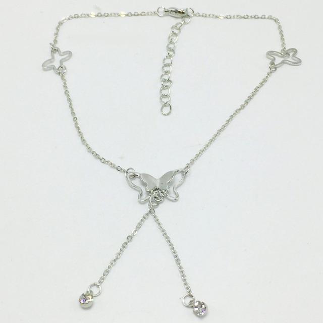 Butterfly Pendant Tassel Rhinestone Ankle Bracelet Titanium Steel Anklet Beach Foot Chain