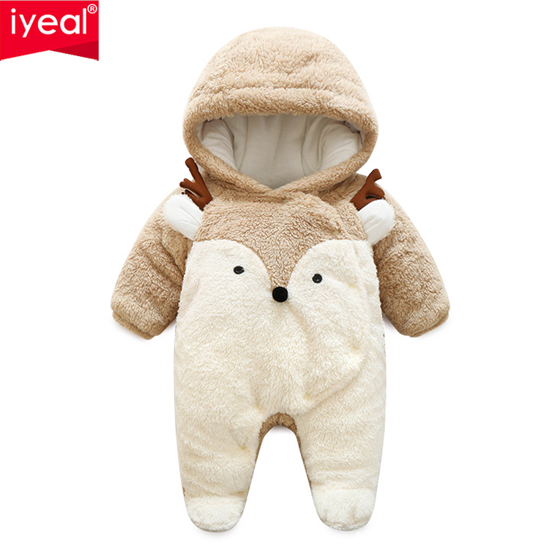 IYEAL Newborn Baby Romper Winter Costume Girls Boys Clothes Coral Fleece Warm Infant Clothing Animal Overalls Toddler Jumpsuit iyeal baby rompers warm soft flannel winter baby clothes cartoon animal 3d ears children girls jumpsuit newborn infant romper