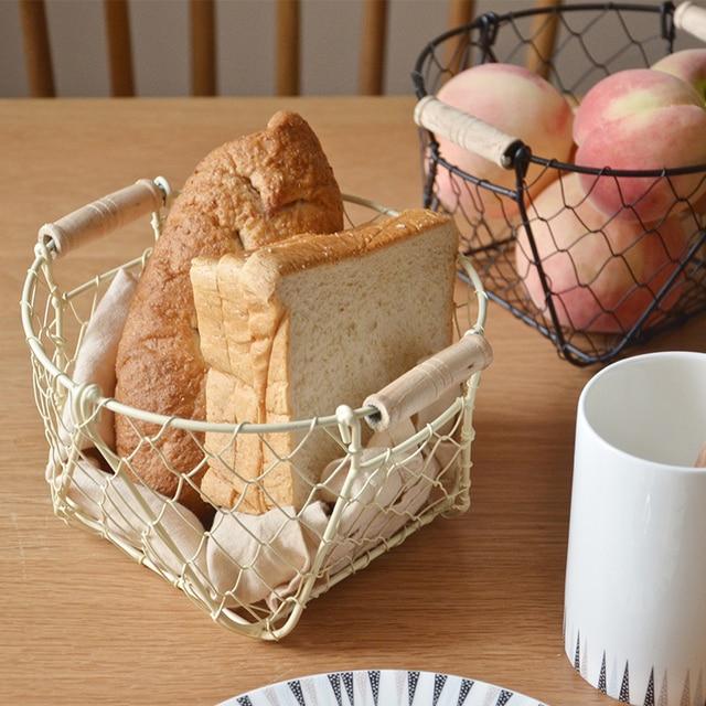 Cesta de Armazenamento De Ferro de Metal Mini Multifunções Frutas Alimentos Lanches Cesta de Armazenamento De Desktop Simples Nordic para Cozinha de Casa Organizador