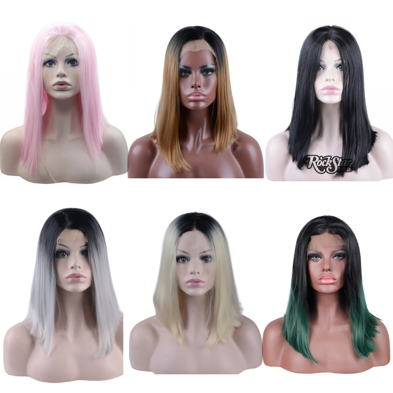 6 Colors 14 inches Mid-long short lace front synthetic hair wigs,Black to Gray/Green ombre daily full hair wigs for black women