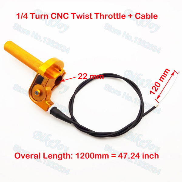 1 4 Turn CNC Twist Throttle Gold W Cable Aluminum For DR 100cc 125cc 200cc Dirt