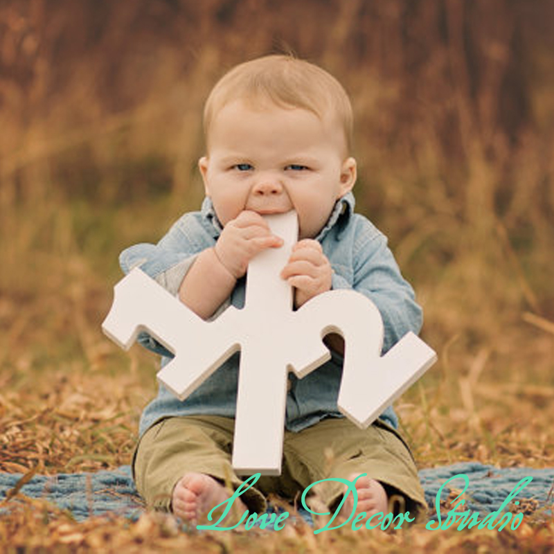 12tall Half Sign Baby Photo Props - Large Wooden Numbers - Photography Props - Birthday Decor Age Sign