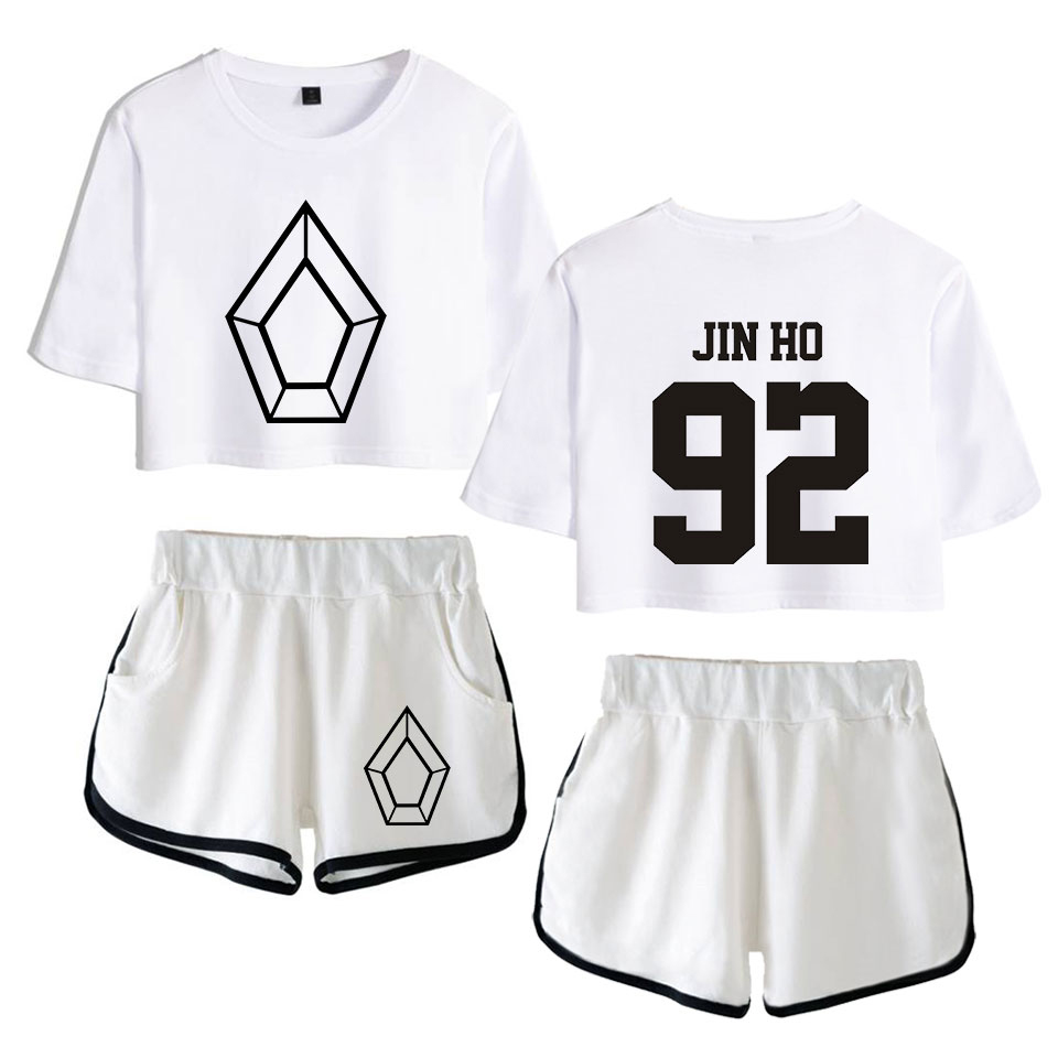 New 2019 Kpop clothes PENTAGON Album Five Senses 2D Print Leisure Women Two Piece Set Shorts And lovely T shirt Hot Sale Clothes in Women 39 s Sets from Women 39 s Clothing