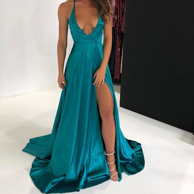 2019 Long   Prom     Dresses   Elegant A line Deep V Neck Sleeveless Celebrity Party Gown vestidos de gala