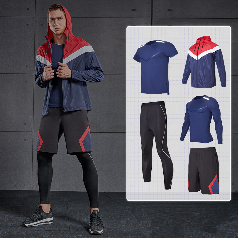 2019 vêtements de sport costume hommes Gym course ensemble collants de Compression Fitness Sportswear maillots de basket-ball Jogging survêtements