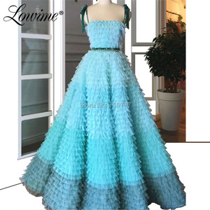 Image 1 - Amazing Summer Princess Party Dress 2019 Couture Tiered Tulle Multicolor Prom Dresses Beaded Abendkleider Arabic Evening Gowns