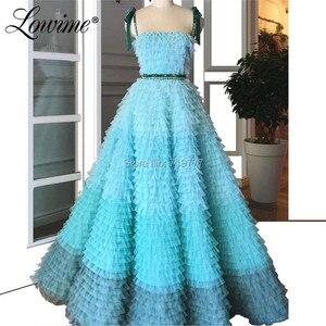 Image 1 - Increíble vestido de fiesta de princesa de verano 2019 de alta costura de tul Multicolor vestidos de graduación con cuentas Abendkleider vestidos de noche árabes
