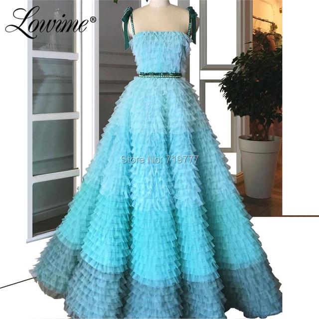 Increíble vestido de fiesta de princesa de verano 2019 de alta costura de tul Multicolor vestidos de graduación con cuentas Abendkleider vestidos de noche árabes