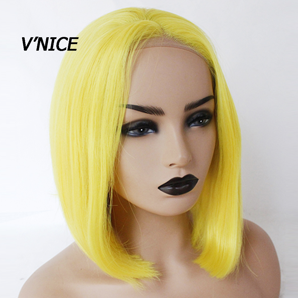 V NICE Short High Yellow Synthetic Wig Bob Hair Natural Glueless Lace Front Cosplay Wigs High