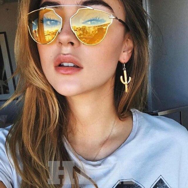 2018 Clássico de Metal Olho De Gato Mulheres Óculos De Sol Da Marca  Designer Amarelo Rosa 04e5e4b065