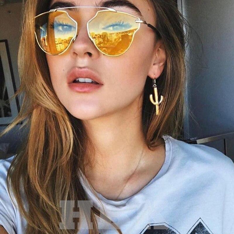 2018 Classic Cat Eye Metal Women Sunglasses Brand Designer Yellow Pink Sunglasses Retro  ...