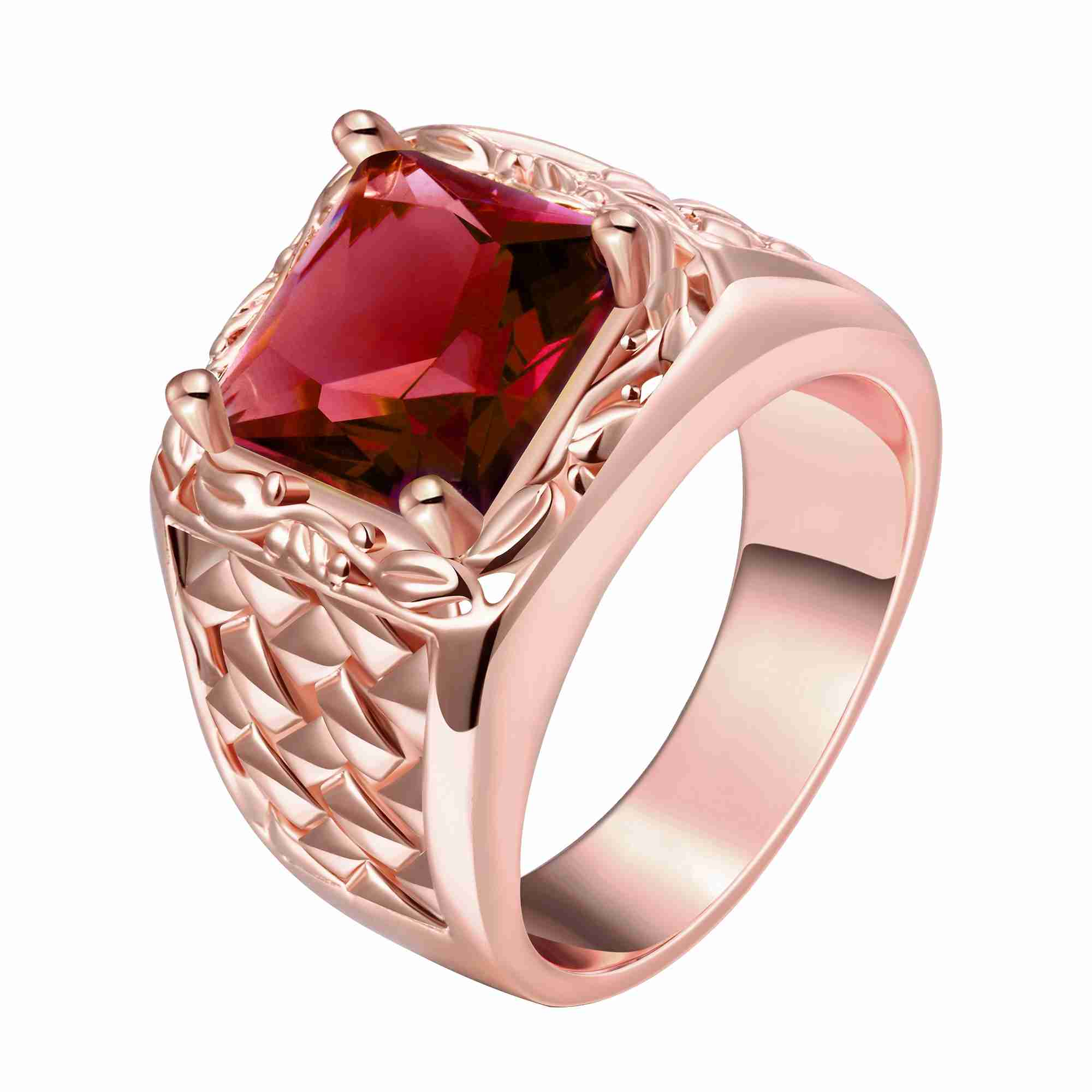 Free Shipping High Quality gold color rings for men Hollow edge ...