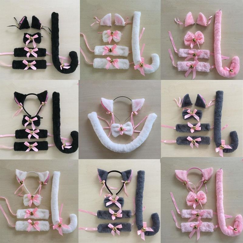 Cartoon Cat Fox Ear Bell Headband Bow Neckwear Wristband Anime Housemaid Cosplay Fancy Dress Set Women Girls Party Props Costume