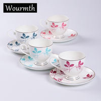 WOURMTH Europe Bone china Flower Ceramic Coffee Cup Advanced Porcelain Tea Cup Saucer 220ML Cafe Party Drinkware