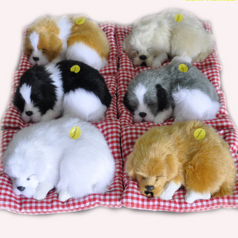 2017 Baby Cute Animal Doll Plush Sleeping Dogs Stuffed Toys With Sound Kids Kawaii Christmas Birthday New Year Gift For Children