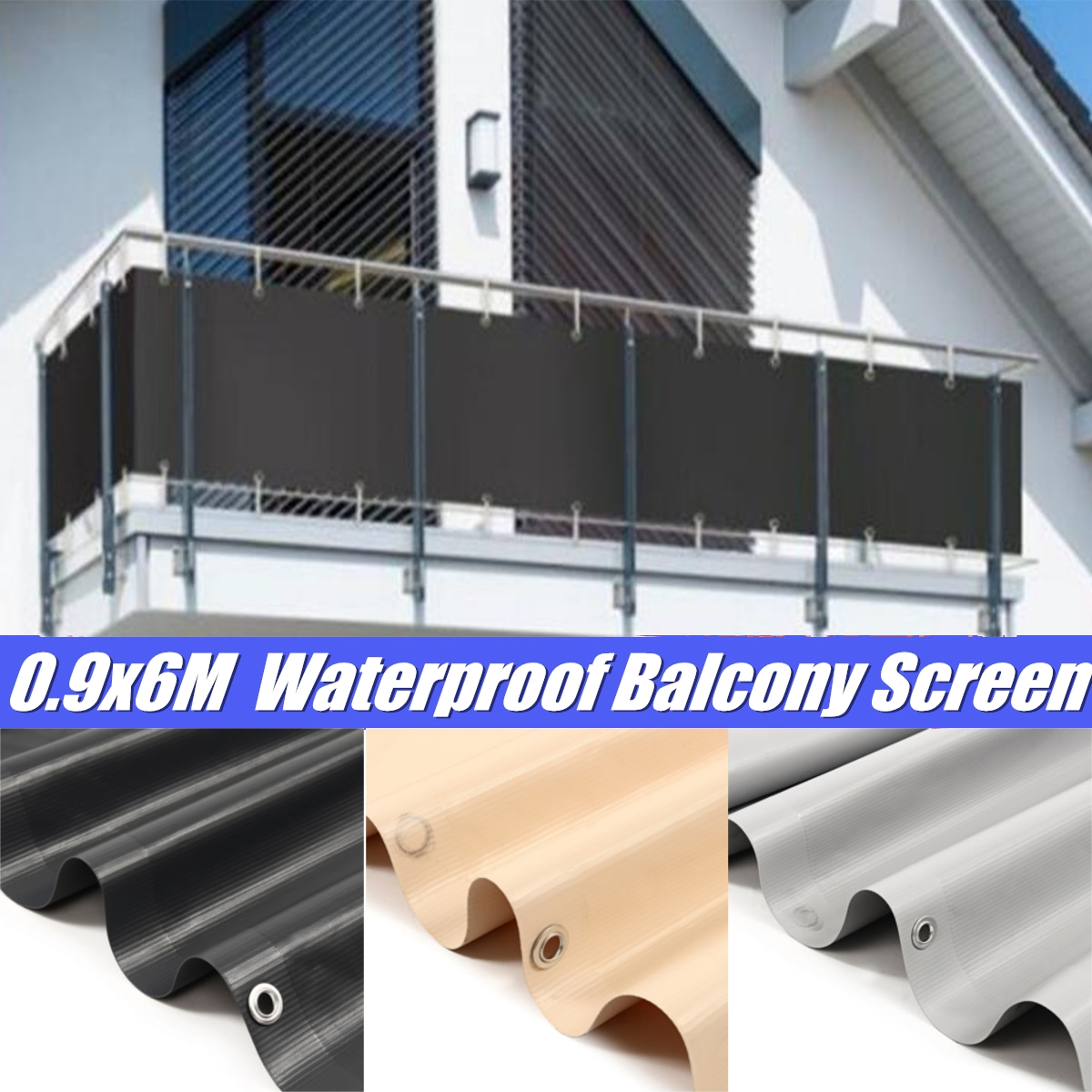 3 Colors PVC Balcony Private Screen 6X0.9m Sunshade Cloth Wind Protection Panel Waterproof Canopy Fence Garden Accessories