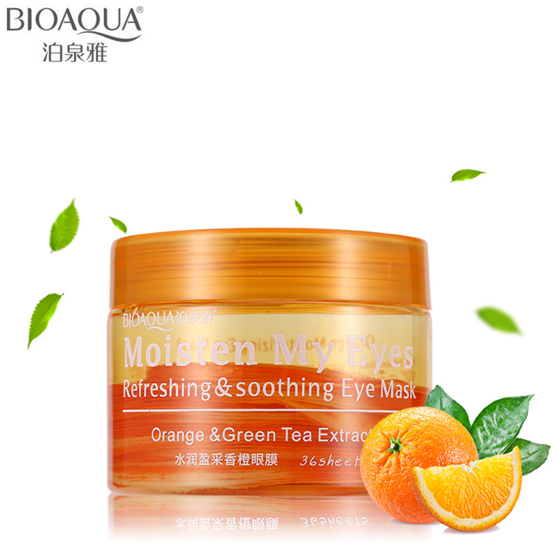 BIOAQUA Brand Orange Refreshing & Soothing Eye Mask Skin Care Moisturizing Anti-wrinkle Anti-aging Remove Dark Circle Eye Masks