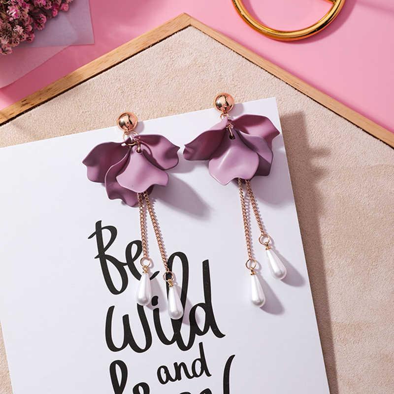 すき韓国シンプルな甘いピンク紫花弁の花のイヤリング誇張真珠女性のための有名人のジュエリー