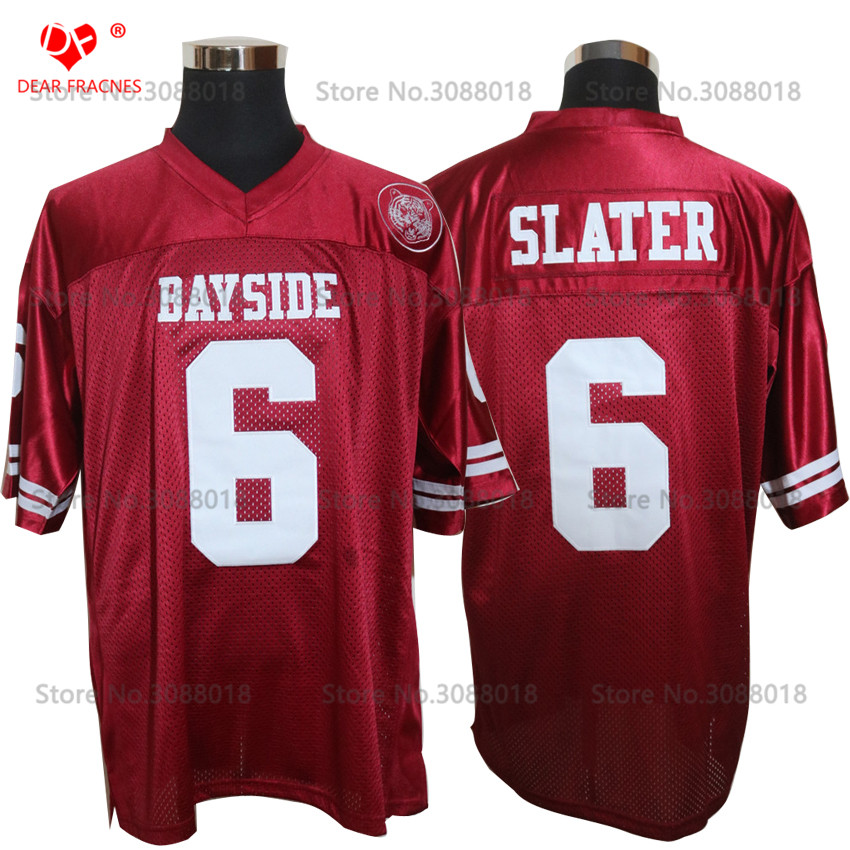 Cheap Shirt for Mens American Football Jerseys AC Slater 6 Bayside Tigers  High School Throwback Jerseys Retro Red Stitched-in America Football Jerseys  from ... 09a30e0b48fb