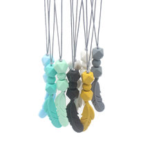1Pcs Silicone Beads Teething Necklace Food Grade Mom Jewelry for Baby Teething Chewable Feather Pendant Baby Teether(China)